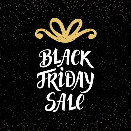 Black Friday Sale banner with hand lettering and golden bow, on dark background. Advertisement placard, promo, flyer. Promotional design for online store, web site. Modern calligraphy