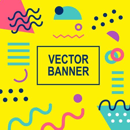 Memphis style banner template. Ilustrace