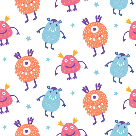 Pattern with cute scary Halloween monsters.