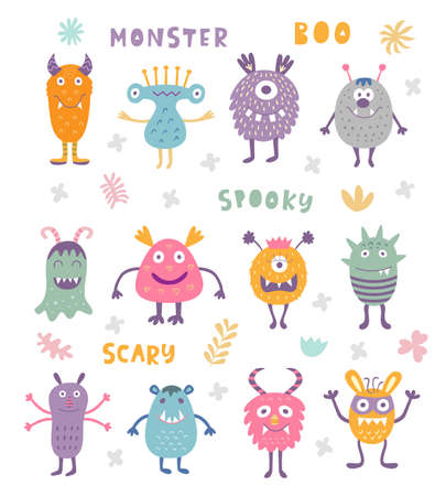 A vector Set of Cute Scary Halloween Monsters.