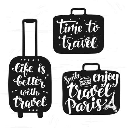 Travel label set with hand written lettering.