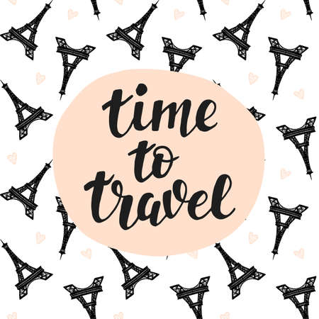 Time To Travel Hand lettering. Ilustracja
