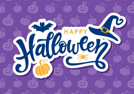 Happy Halloween handschriftliche Beschriftung Standard-Bild - 85812909