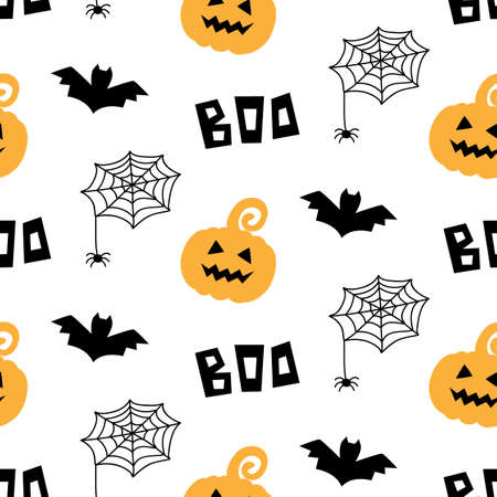 Halloween seamless pattern with pumpkins, bats and spiders