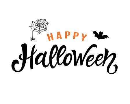 Happy Halloween Handwritten Lettering. Typography Template for Posters, Party Banners, Invitations, Stickers, Gift Cards. Vector illustration