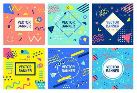 Memphis style banner templates collection. 80-90s trendy fashion background with geometric shapes. Vector illustration. Poster, invitation, greeting card, cover design.  イラスト・ベクター素材
