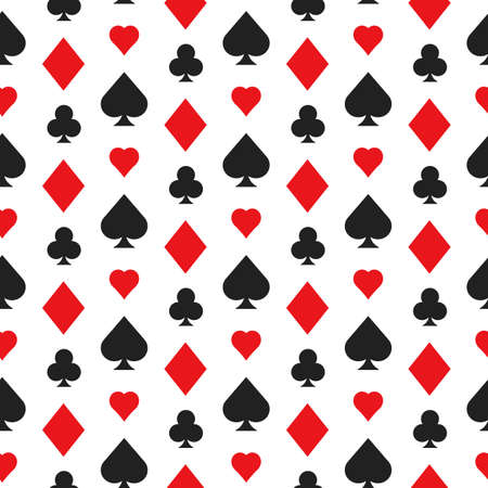 Casino poker seamless pattern with card suits Illustration