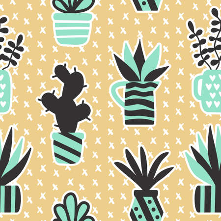 Vector seamless pattern with black succulents and houseplants in vase Illustration