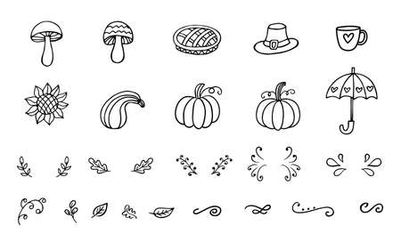 Vector autumn doodles collection, isolated on white background. Hand drawn design elements set. Seasonal decoration.