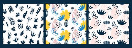 스 칸디 나 비아 원활한 패턴을 설정합니다. 추상적 인 벡터 일러스트 레이 션. 트렌디 한 섬유 디자인 인쇄 손으로 그려진 기하학적 인 꽃 모양