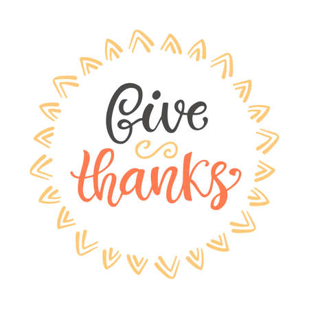 Give Thanks. Thanksgiving Day lettering Çizim