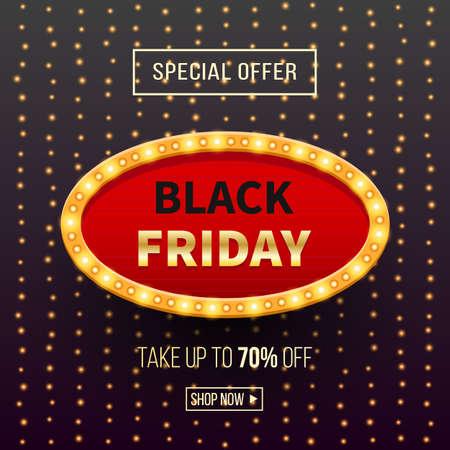 Black Friday sale banner background with light frame.