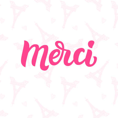 Cute gift card with Thank you lettering in french with hand drawn Paris towers and doodle hearts. Vector illustration. Sticker design template