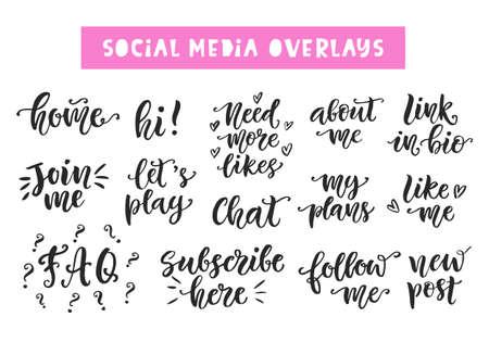 ソーシャル メディアのコレクションをレタリング書かれたおしゃれなを手します。