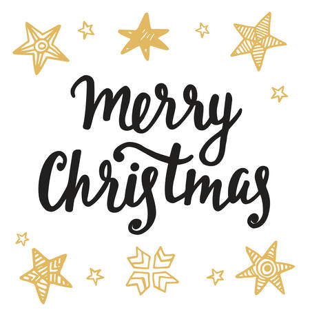 Merry Christmas greeting card. Hand lettering in golden and black colors