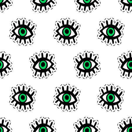 Eyes patches seamless pattern. Trendy pop art 90s style. Fashion textile background 向量圖像