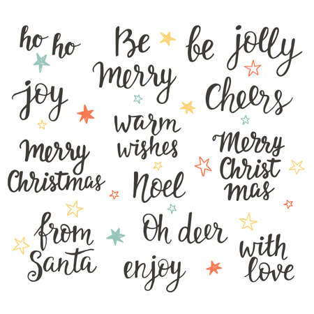Christmas holidays hand lettering set. Calligraphy phrases collection Illustration