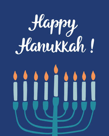 Happy Hanukkah, hand written brush lettering; Jewish holiday elegant greeting card template with menorah for poster, banner, party invitation design. Vector illustration