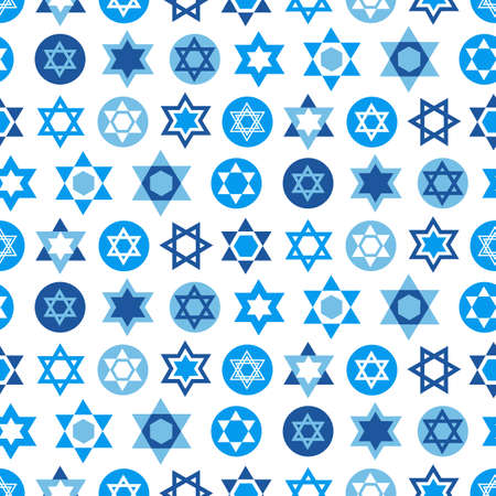 Blue Star of David symbols collection for textile, wallpaper, web page background. Illustration