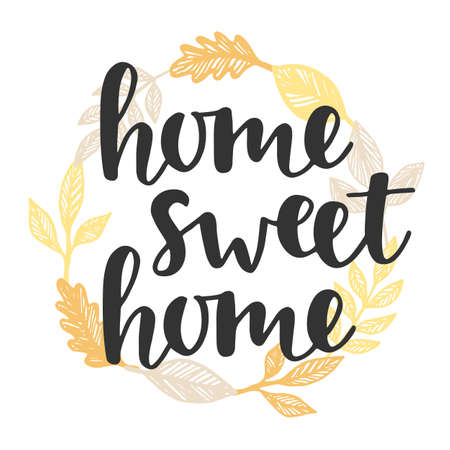 Home sweet home quote in vintage golden wreath