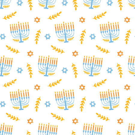 Menorah seamless pattern, isolated on white. Jewish holiday elegant background.