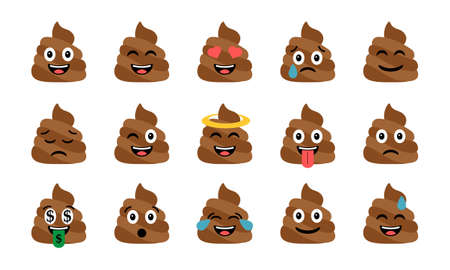 Cute funny poop set clip-art design illustration.