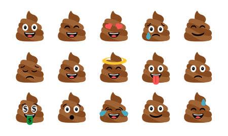 Cute funny poop set clip-art design illustration.