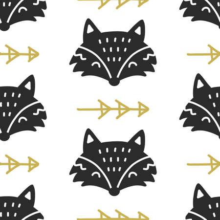 Scandinavian Fox nordic seamless pattern. Hand drawn trendy folk art decoration backdrop.