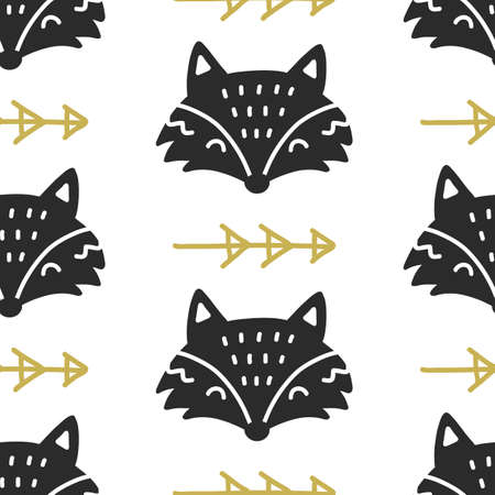 Scandinavian Fox nordic seamless pattern. Hand drawn trendy folk art decoration backdrop.