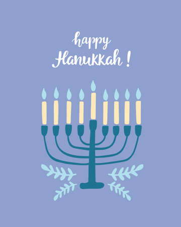 Happy Hanukkah greeting card with hand written modern brush lettering and menorah.