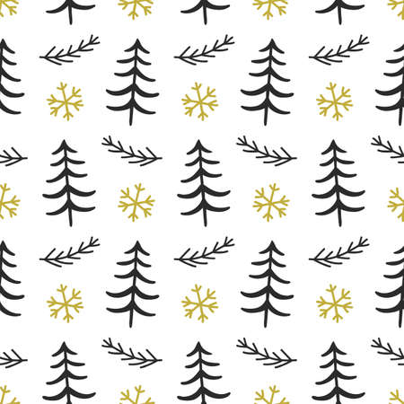 Scandinavian Forest trees nordic seamless pattern