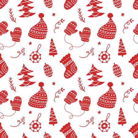 Scandinavian Christmas hand drawn seamless pattern background