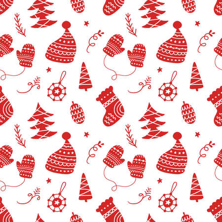 Scandinavian Christmas hand drawn seamless pattern background