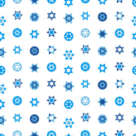 Jewish stars set seamless pattern. Star of David national Israel symbols