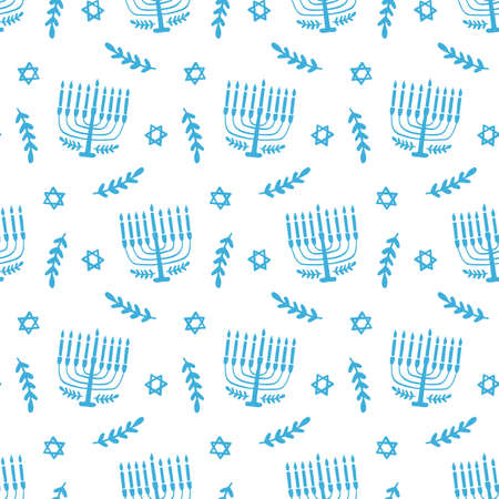 Menorah seamless pattern, isolated on white