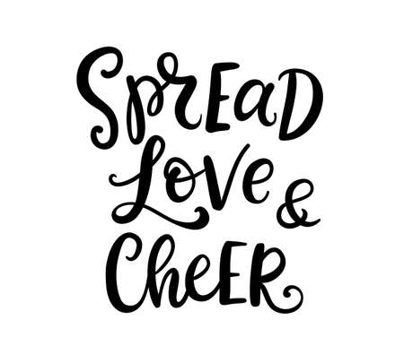 Christmas ink hand lettering. Spread Love and Cheer phrase Stock Photo