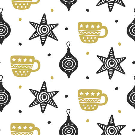 Scandinavian Christmas nordic seamless pattern with decorative doodle elements Illusztráció