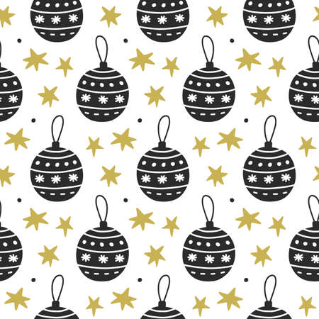 Scandinavian Christmas nordic seamless pattern with decorative doodle elements with christmas balls