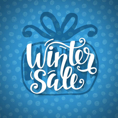 Winter Sale banner with hand lettering, inscription in gift box silhouette Illustration