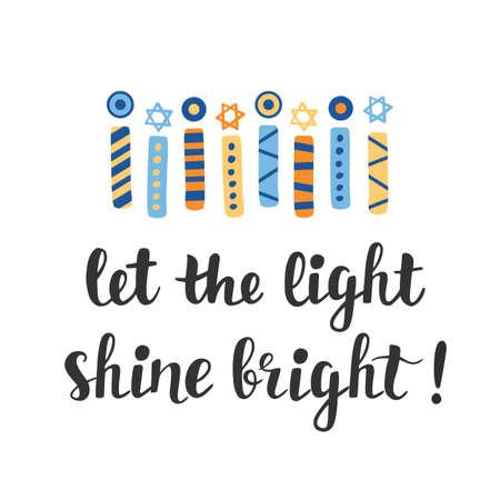 Laissez la lumière briller. Carte de voeux de Hanoukka avec des bougies menorah dessinés à la main créative Banque d'images - 89612224