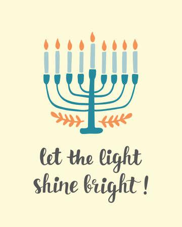 Laissez la lumière briller. Carte de voeux de Hanoukka avec des bougies menorah dessinés à la main créative Banque d'images - 89678571