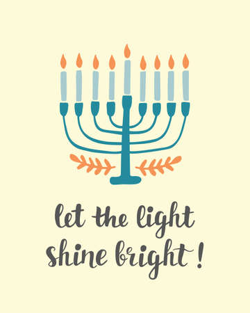 Let The Light Shine Bright. Hanukkah greeting card with creative hand drawn menorah candles