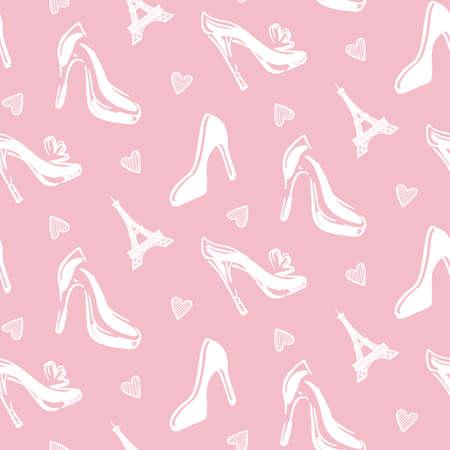 Achtergrond van het manier de Naadloze patroon met vrouwenschoenen en de Torenssilhouet van Eiffel van Parijs. Vector illustratie