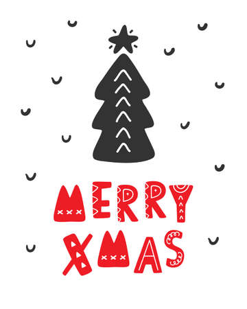 메리 크리스마스 스 칸디 나 비아 인사말 카드입니다.