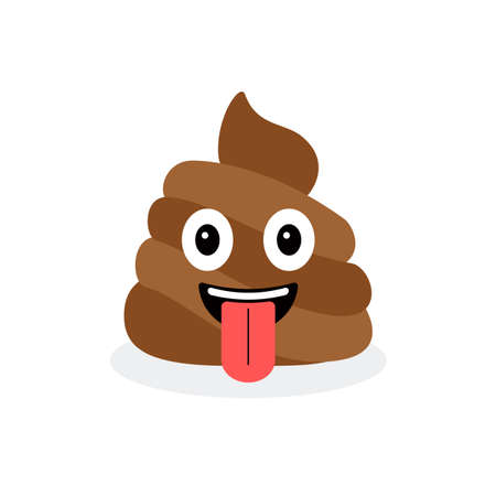 Cute funny poop with tongue. Emotional shit icon Illustration