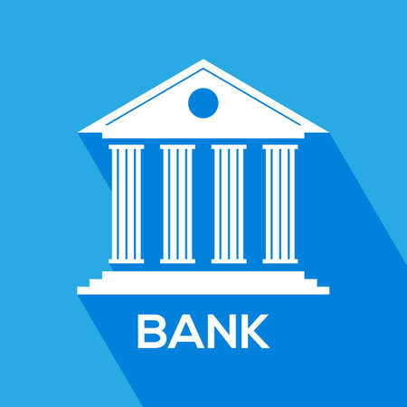 Bank icon for mobile web apps. Banking investment concept in Flat style Vector illustration