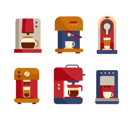 Office coffee machine icons, flat style modern design. Vector illustration Illustration