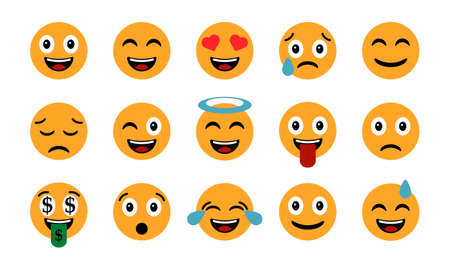 Emoticons set. Emoji Smile icons, isolated on white