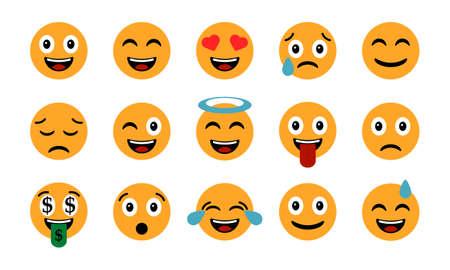 Emoticons set. Emoji Smile icons, isolated on white