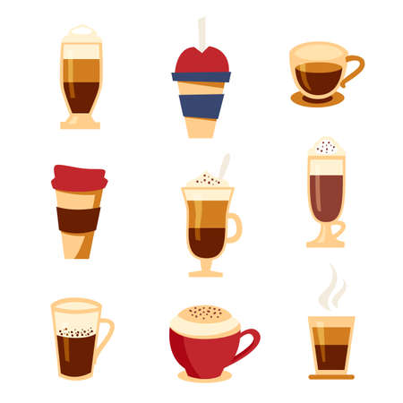 Coffee types icons set, flat style. Beverages menu illustration. Illustration